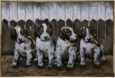 Houten-metaal schilderij honden pups