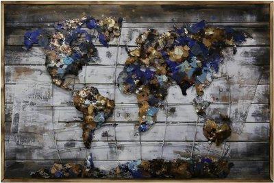 Houten-metaal schilderij Landkaart