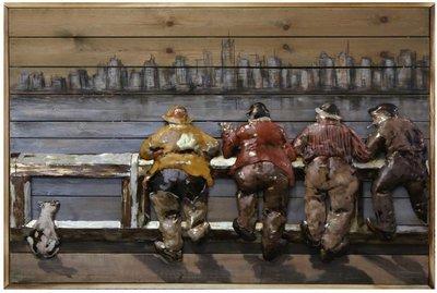 Houten-metaal schilderij stuurlui