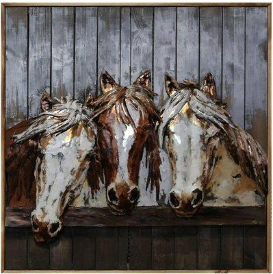 Houten-metaal schilderij paarden