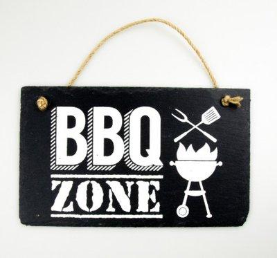Leistenen tekstbord BBQ zone