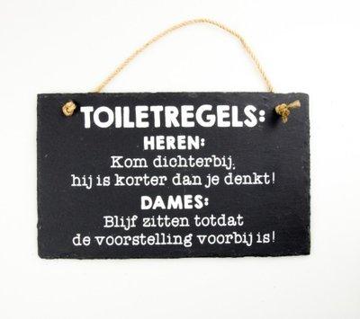 Leistenen tekstbord toiletregels