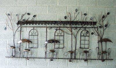 Muurdecoratie metaal Frans terras