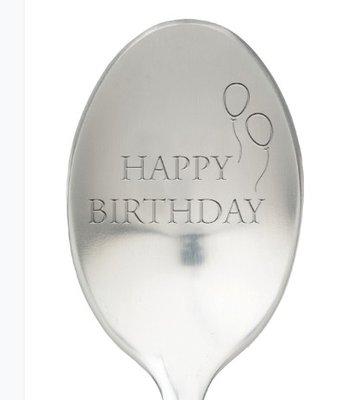 Lepel met tekst happy birthday