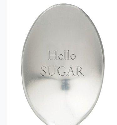 Lepel met tekst hello sugar