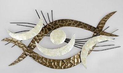 Muurdecoratie metaal Eyes zilver