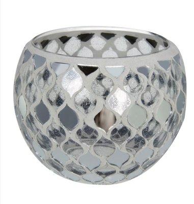 Waxinelichthouder Glas mozaiek white