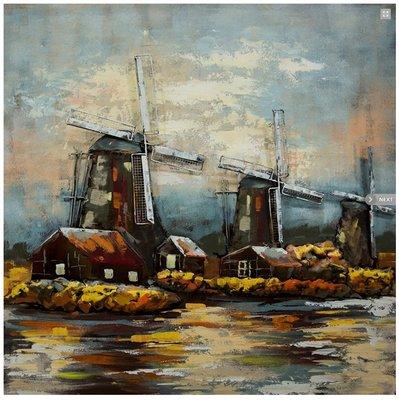Metalen schilderij Windmolens