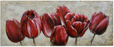 Metalen schilderij Tulpen