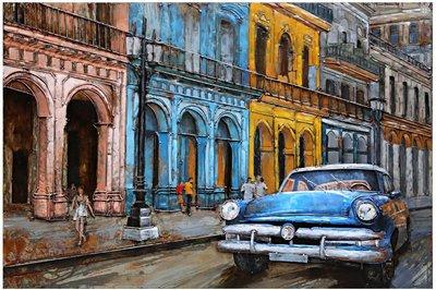 Metalen schilderij City bleu
