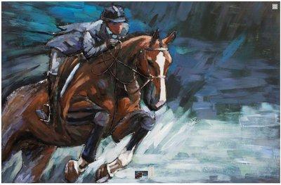 Metalen schilderij paardensport