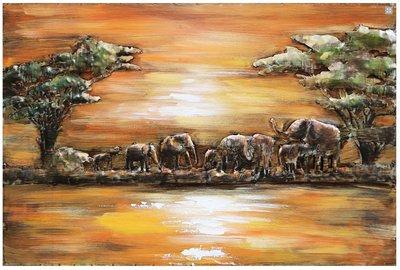 Metalen schilderij olifant savanne