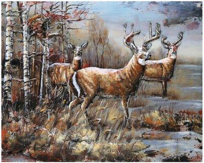 Metalen schilderij Herten