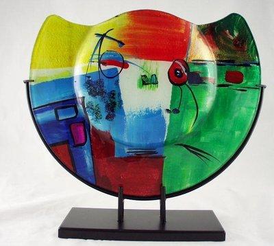 Gekleurde decoratie vaas half rond