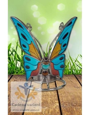 Waxinelichthouder vlinder Glas tiffany butterfly