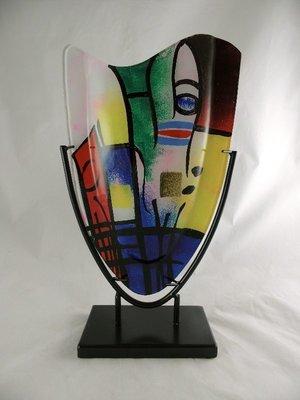 Glazen vaas rood blauw geel