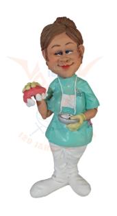 Beeldje tandarts vrouw met gebit