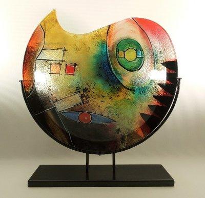 Glazen vaas gekleurd rond