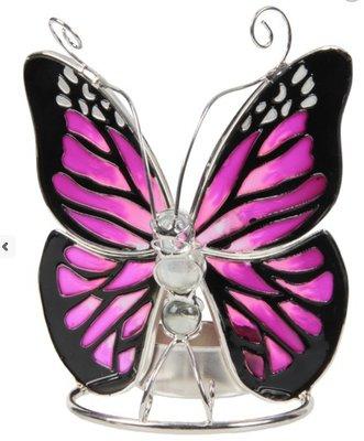 Waxinelichthouder vlinder Glas purple