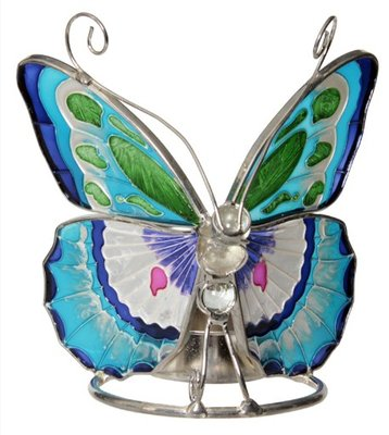 Waxinelichthouder vlinder Glas Ocean