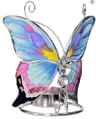 Waxinelichthouder vlinder Glas water