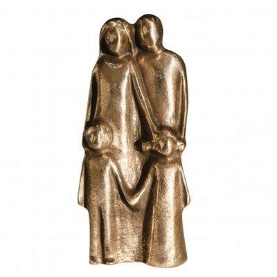 Beeldje gezin met twee kinderen brons