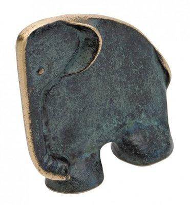 Boekensteun olifant brons Groen