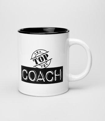 Tekstmok zwart-wit top coach