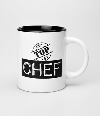Tekstmok zwart-wit top chef