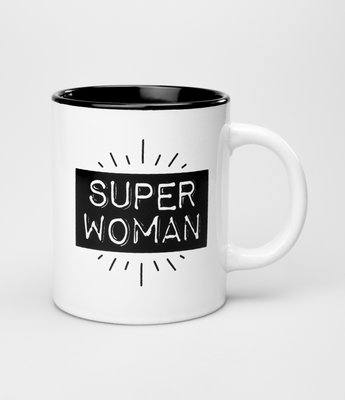 Tekstmok zwart-wit superwoman