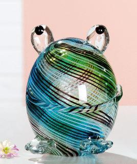 Glassculptuur kikker bleu