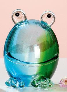 Glassculptuur kikker bleu too