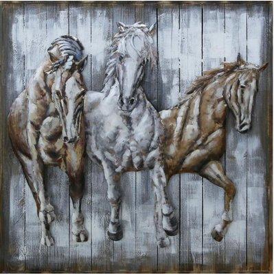 Hout met metaal schilderij paarden
