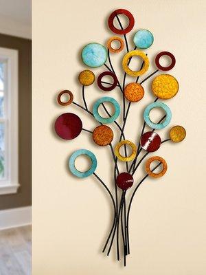 Muurdecoratie metaal gekleurde levensboom