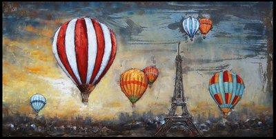 Metalen schilderij 3d Lucht ballonnen