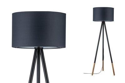 Neordic Rurik staande lamp max.1x20W E27 Grijs/hout 230V stof/metaal/hout