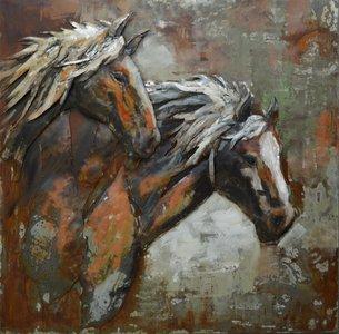 Metalen schilderij 3d paarden