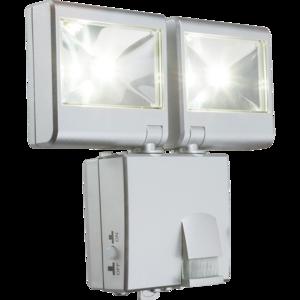 Solar bouwlamp met 2 spots zilver