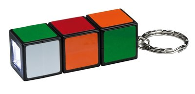 LED-batterijlamp Magic Cube multicolor met sleutelhanger