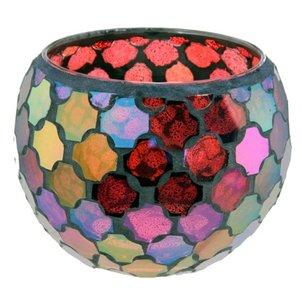 Waxinelichthouder Glas mozaiek warm