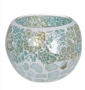 Waxinelichthouder Glas mozaiek aqua