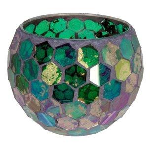Waxinelichthouder Glas mozaiek green