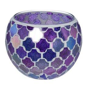 Waxinelichthouder Glas mozaiek purple
