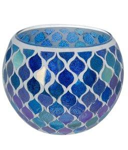 Waxinelichthouder Glas mozaiek blauw