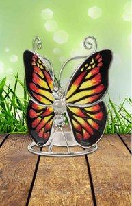 Waxinelichthouder vlinder Glas tiffany