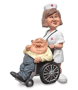 Beroepen Beeldje verpleegkundige en patiënt in rolstoel